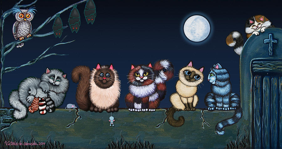 Cat Painting - Moonlight On The Wall by Victoria De Almeida