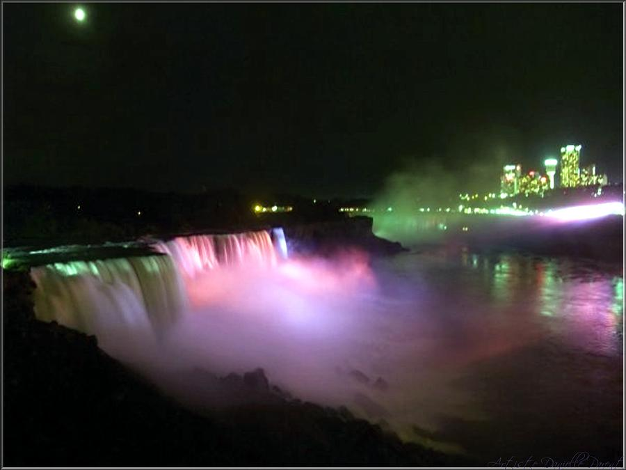 Light Show Photograph - Moonlight Over A Luminous Niagara Falls N.y. by Danielle  Parent