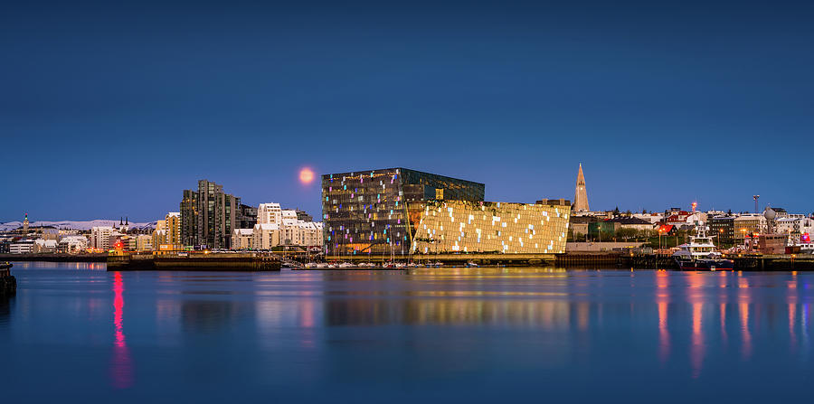 Horizontal Photograph - Moonlight Over Reykjavik Harbor by Panoramic Images
