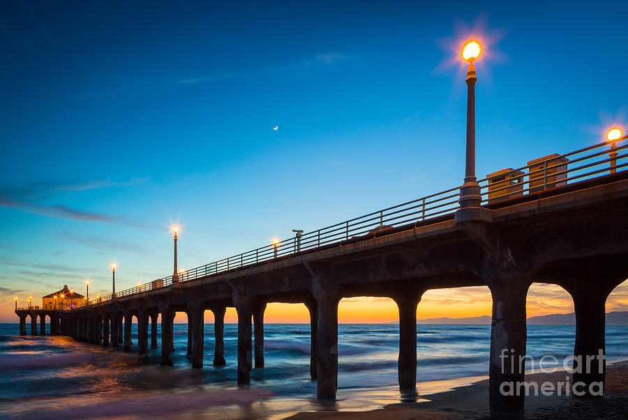 America Photograph - Moonlight Pier by Inge Johnsson
