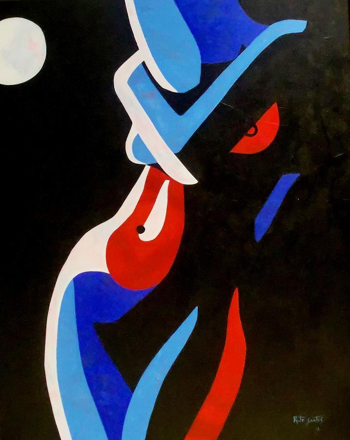 Woman Painting - Moonlight by Rute Santos