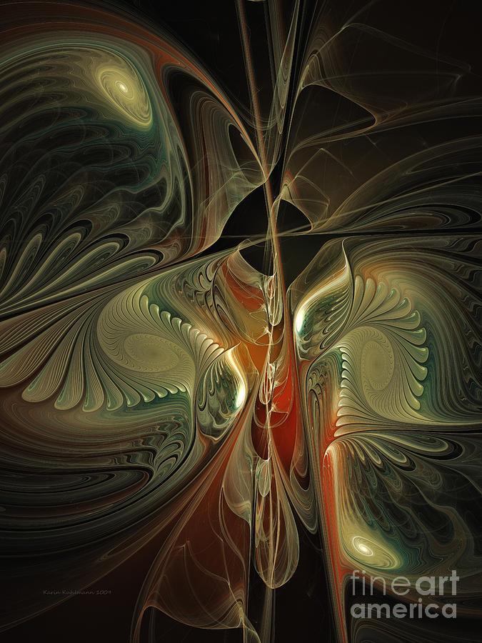 Poetic Digital Art - Moonlight Serenade Fractal Art by Karin Kuhlmann
