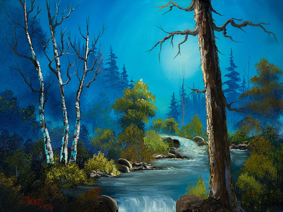 Landscape Painting - Moonlight Stream by Chris Steele