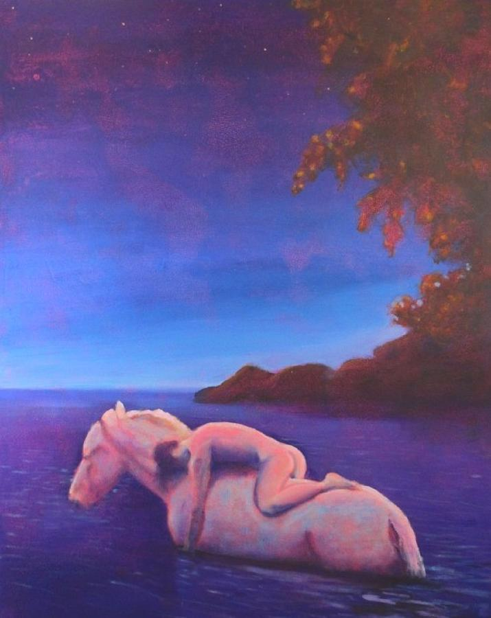 Painting Painting - Moonlight Swim by Craig  Bruce