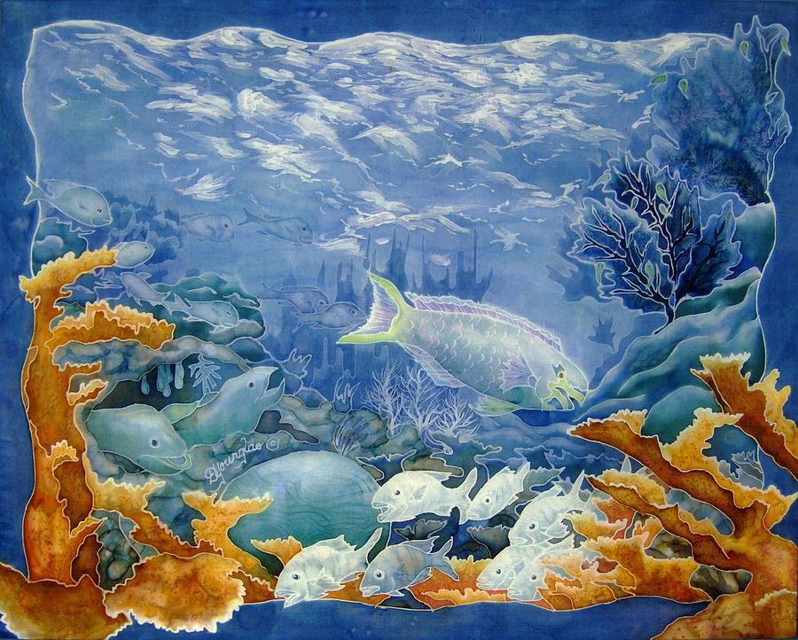 Coral Painting - Moonlight Swim by Deborah Younglao