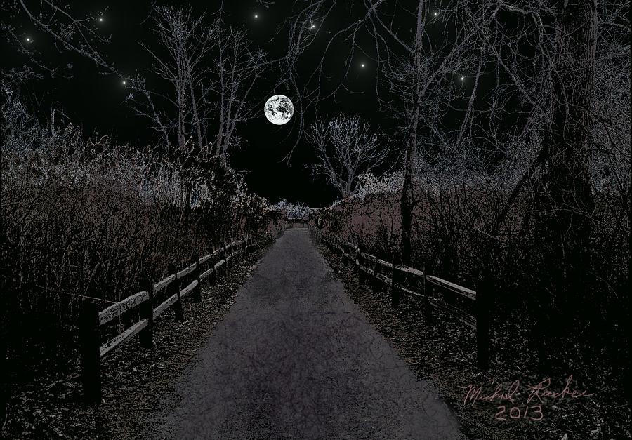Moonlight Path Digital Art - Moonlight Trail by Michael Rucker