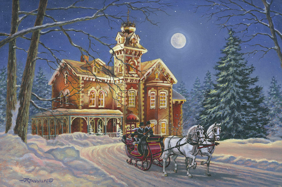 Victorian Mansion Painting - Moonlight Travelers by Richard De Wolfe