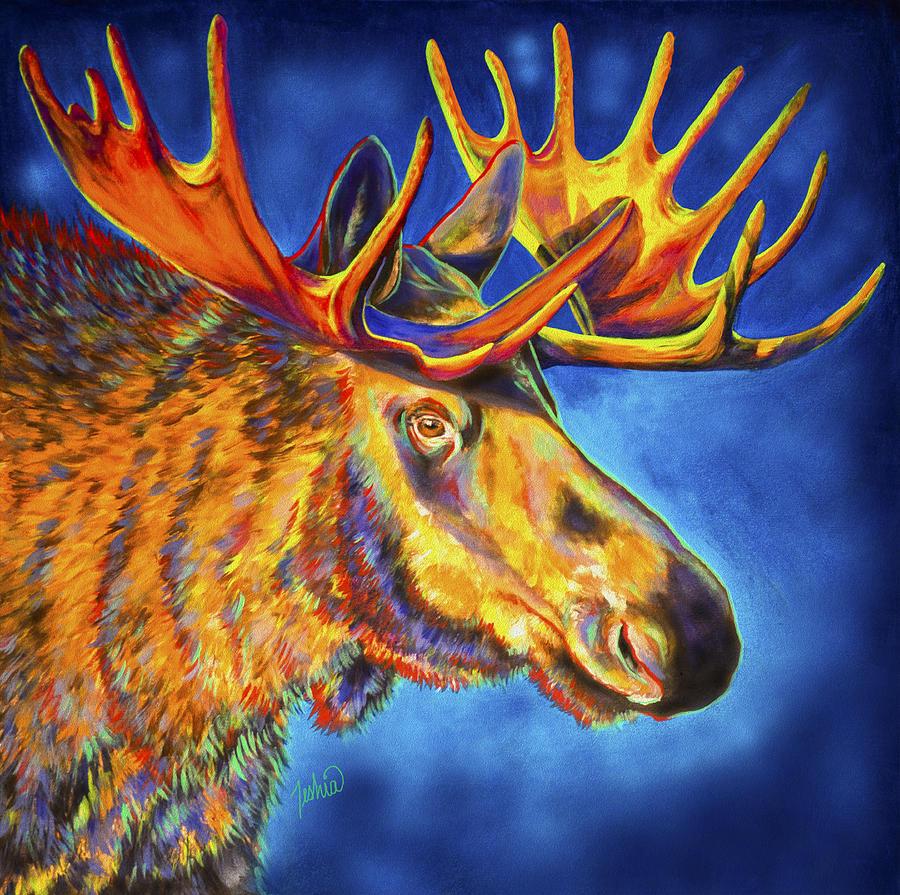 Moose Painting - Moose Blues by Teshia Art