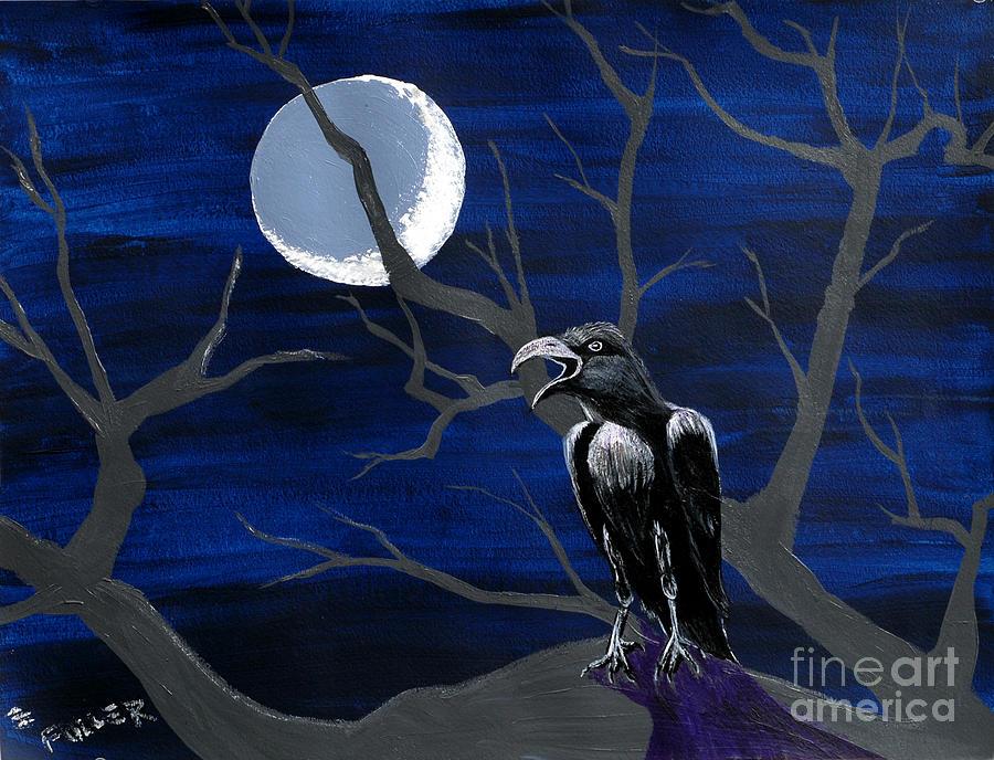 Raven Painting - Ravenous by Edward Fuller