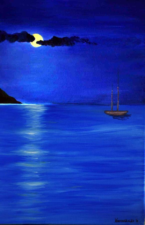 Seascape Painting - Moonligth by Kostas Koutsoukanidis