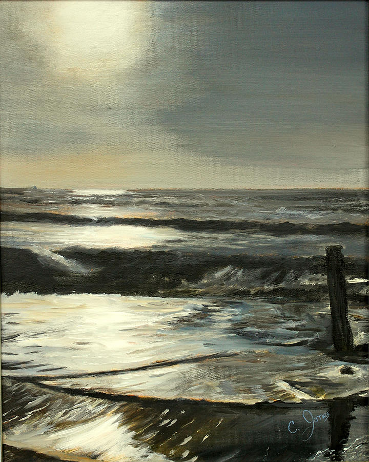 Ocean Painting - Moonlit Atlantic by C Keith Jones