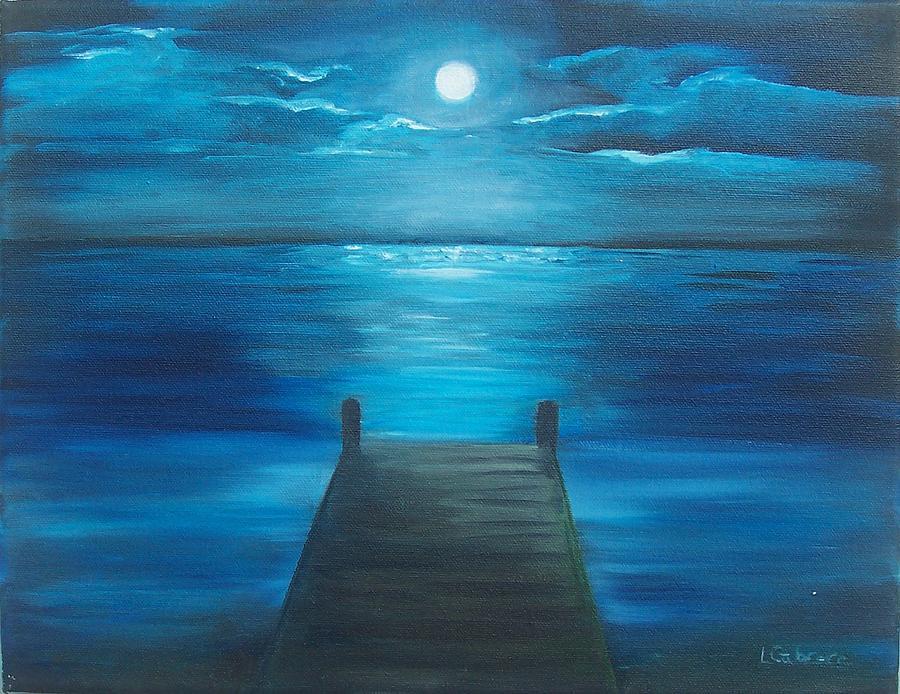 Moonlight Painting - Moonlit Dock by Linda Cabrera