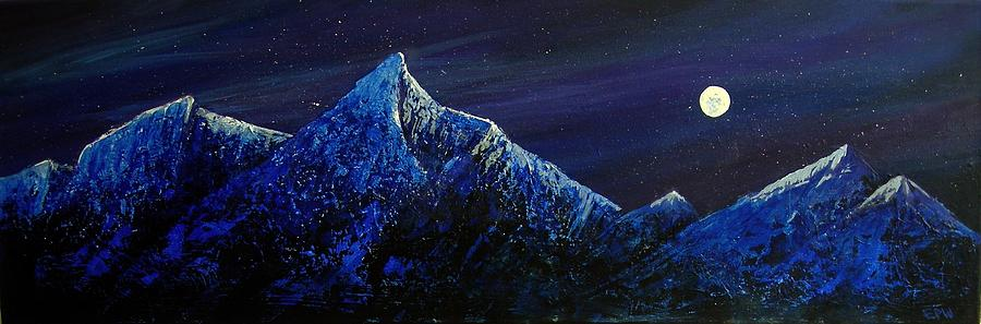 Landscape Painting - Moonlit by Edith Peterson-Watson