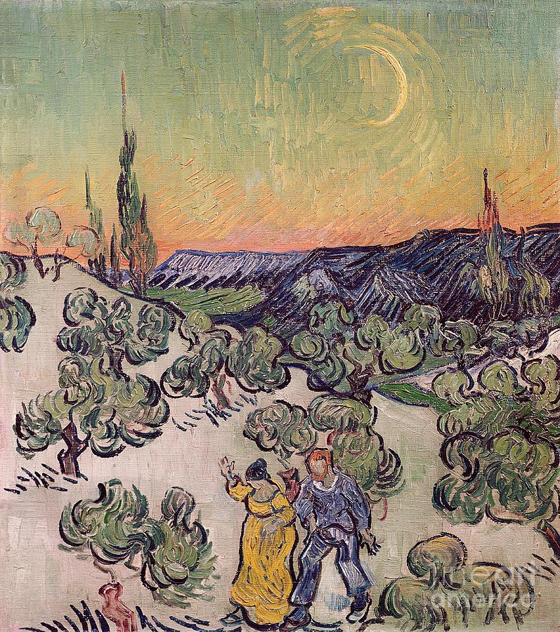 La Promenade Painting - Moonlit Landscape by Vincent Van Gogh