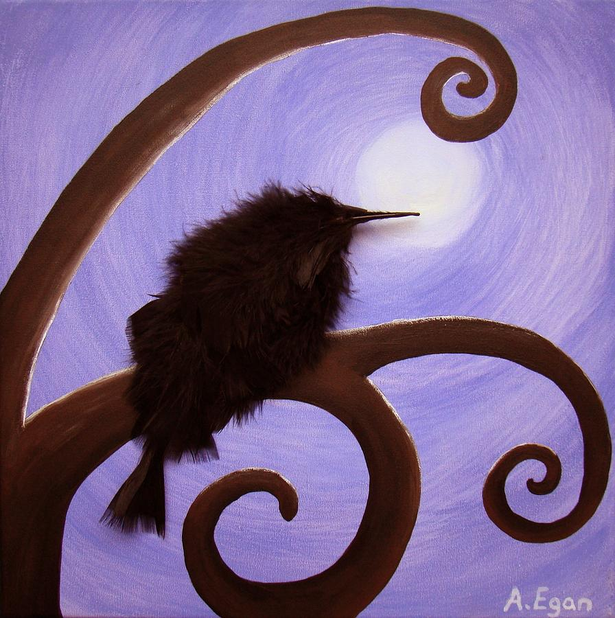 Bird Painting - Moonlit Meditation by Annette Egan