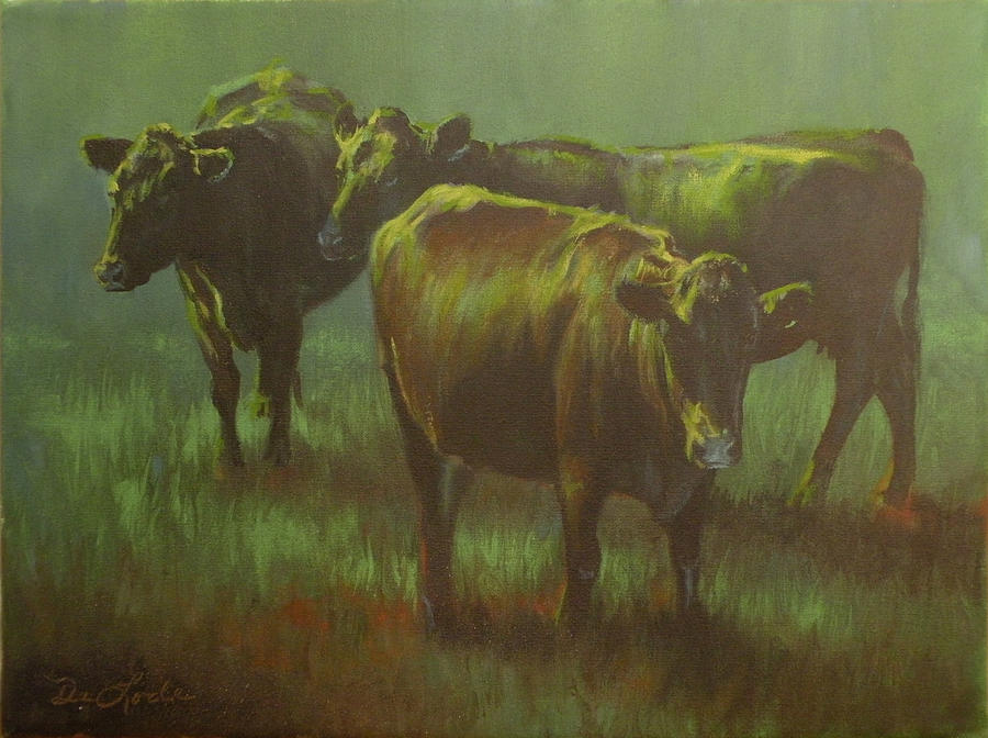 Cows Painting - Moonlit by Mia DeLode