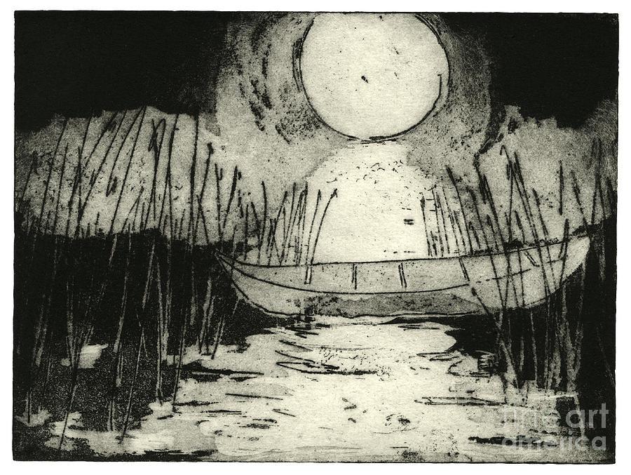 Moonlit Night Painting - Moonlit Night - Full Moon - Reeds - Among The Reeds - Canoe - Etching - Fine Art Print - Stock Image by Helga Pohlen \ Urft Valley Art