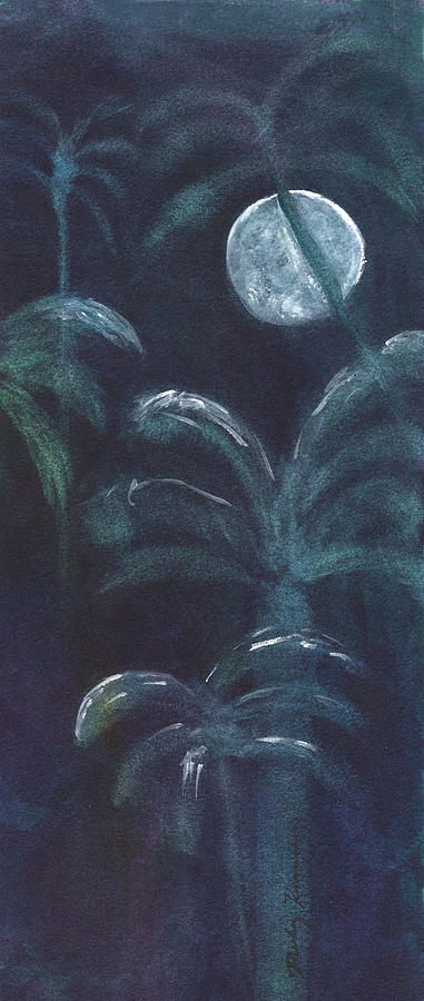 Full Moon Painting - Moonlit Palms by Mickey Krause