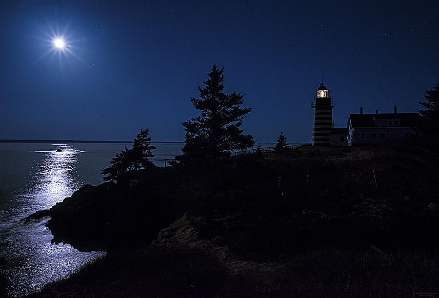 West Quoddy Head Lighthouse Photograph - Moonlit Panorama West Quoddy Head Lighthouse by Marty Saccone