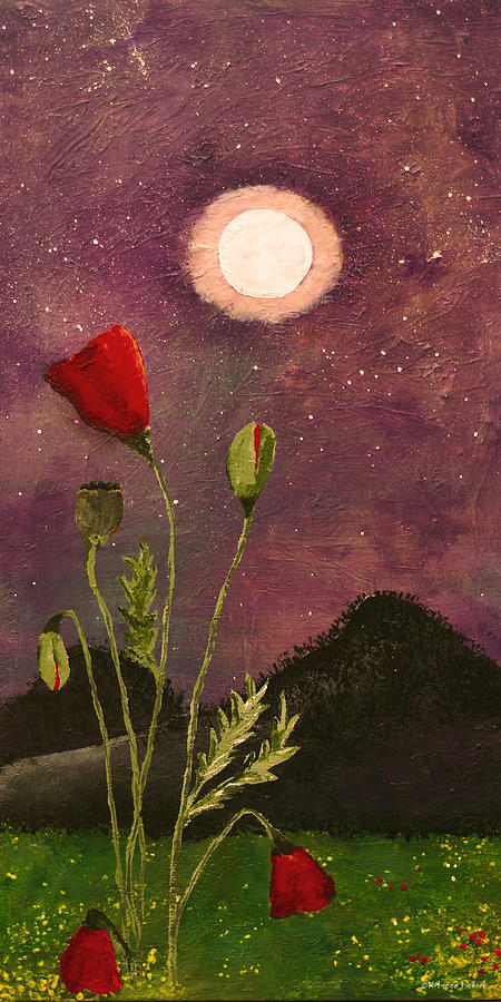 Red Poppies Painting - Moonlit Poppies by Rebecca Pickrel