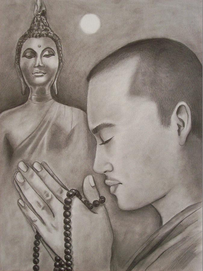 Buddhism Drawing - Moonlit Prayer by Amber Stanford