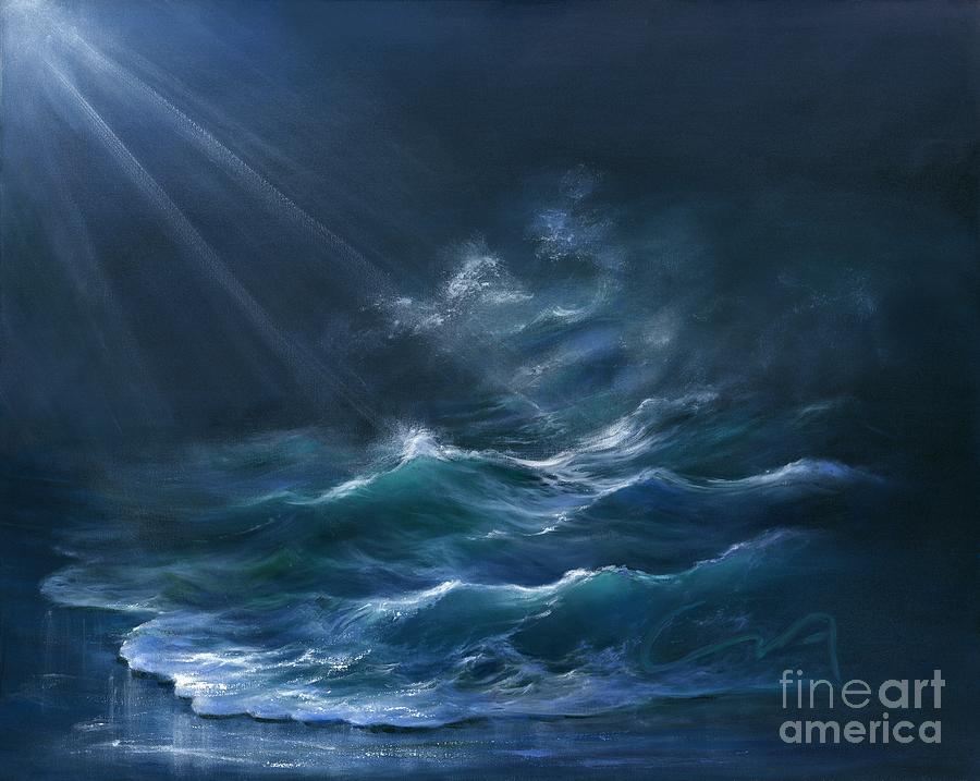 Surf Painting - Moonlit by Sharon Abbott-Furze