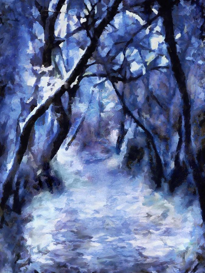 Moonlit Winter Woodpath Painting By Menega Sabidussi