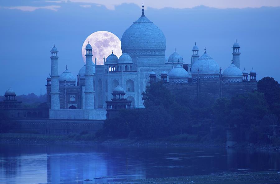 Moonrise At Taj Mahal Photograph by Grant Faint