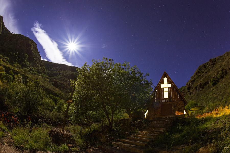 Night Photograph - Moonrise Chapel by Aaron Bedell