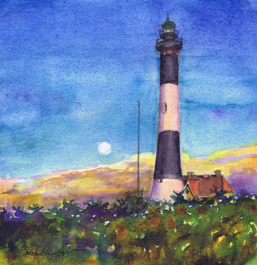 Moon Painting - Moonrise Fire Island Lighthouse by Susan Herbst