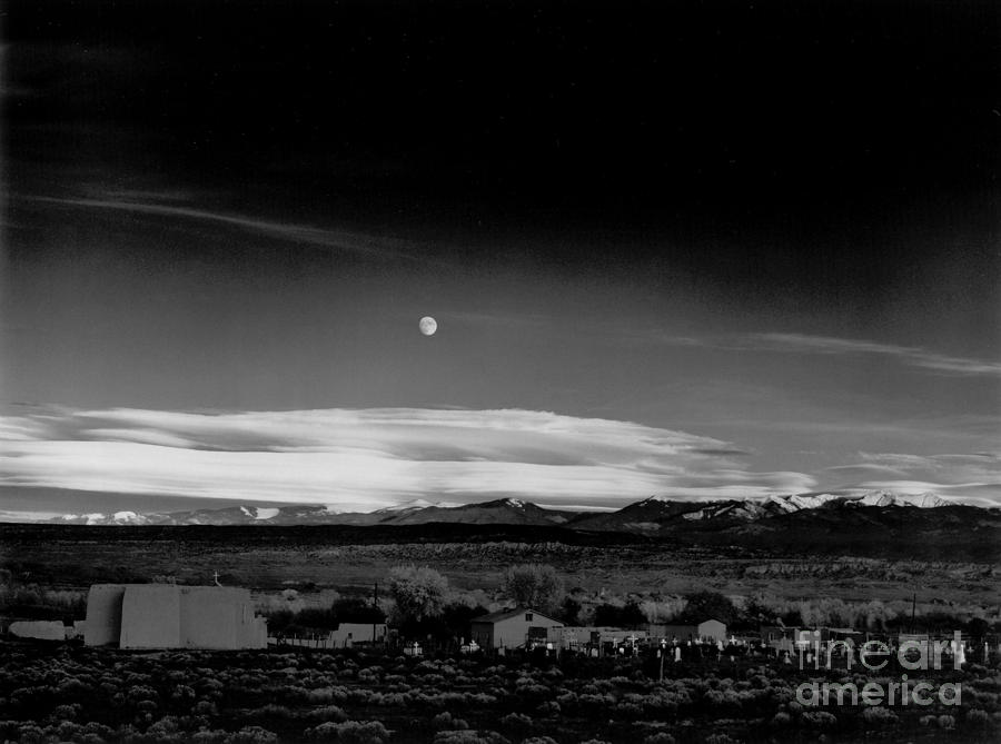 Moonrise Hernandez 1941 Photograph by Ansel Adams