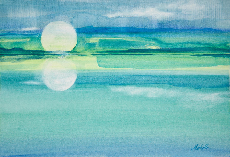 Moonrise In Blue Watercolor Painting Painting by Michelle ...
