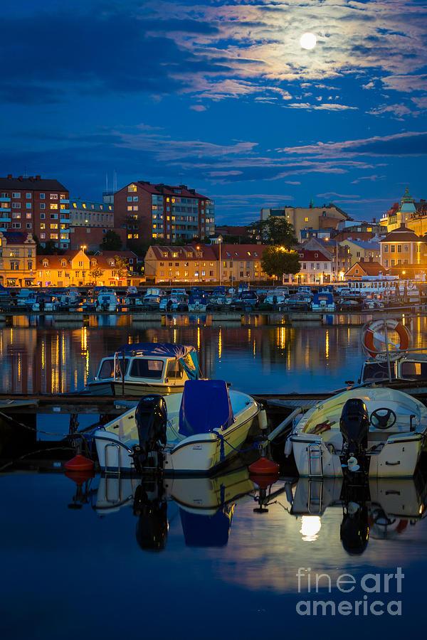 Europe Photograph - Moonrise In Karlskrona by Inge Johnsson