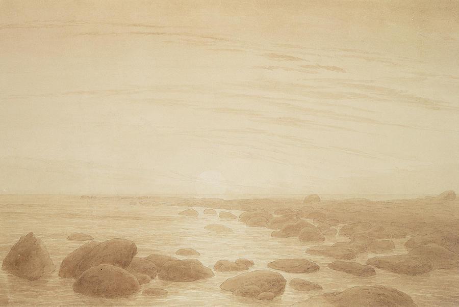 Caspar David Friedrich Painting - Moonrise On The Sea by Caspar David Friedrich
