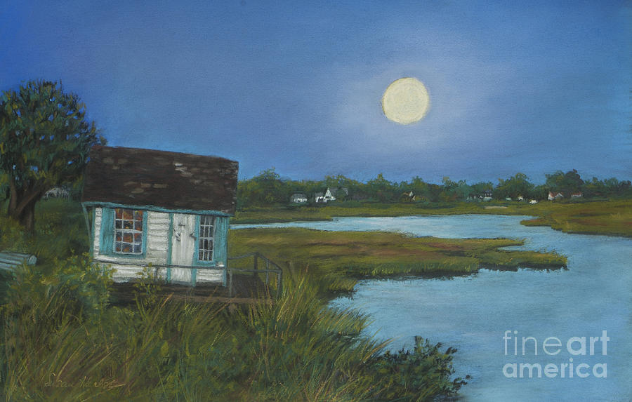 Crab Shack Painting - Moonrise Orient Point by Susan Herbst