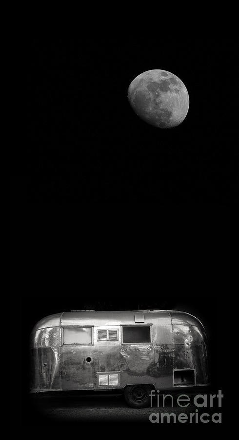 Black Photograph - Moonrise Over Airstream by Edward Fielding