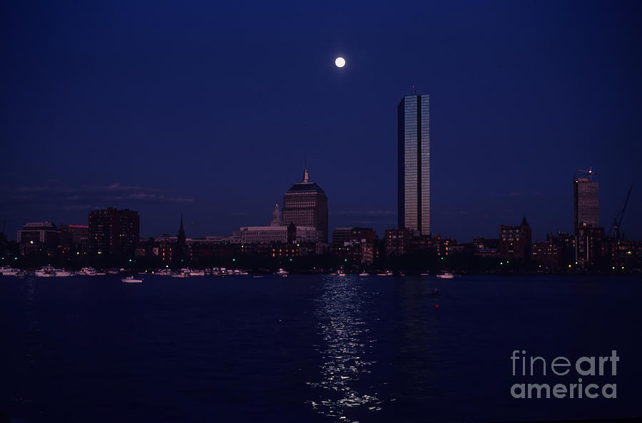 Architecture Photograph - Moonrise Over Boston Skyline July 1982 by Thomas Marchessault