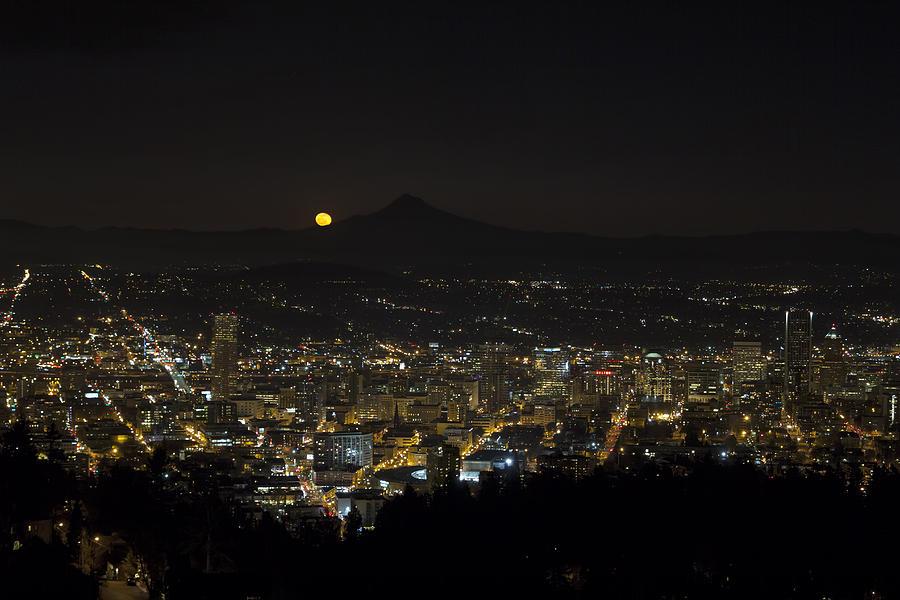 Moonrise Photograph - Moonrise Over Portland Oregon Cityscape by David Gn