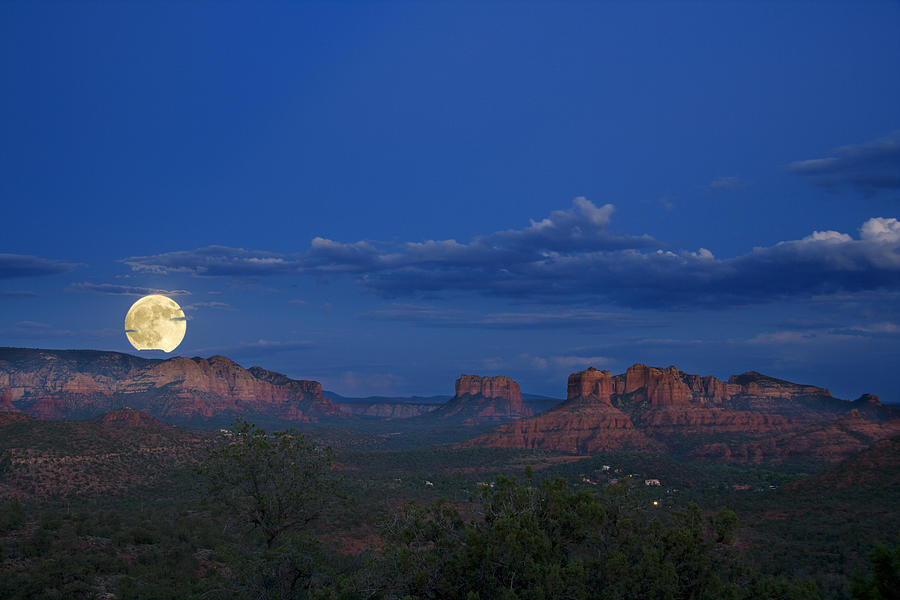 Moonrise Over Red Rocks Photograph