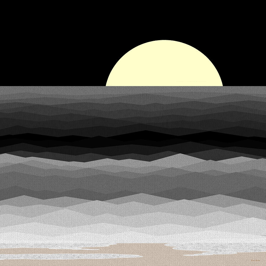 Abstract Seascape Digital Art - Moonrise Surf by Val Arie