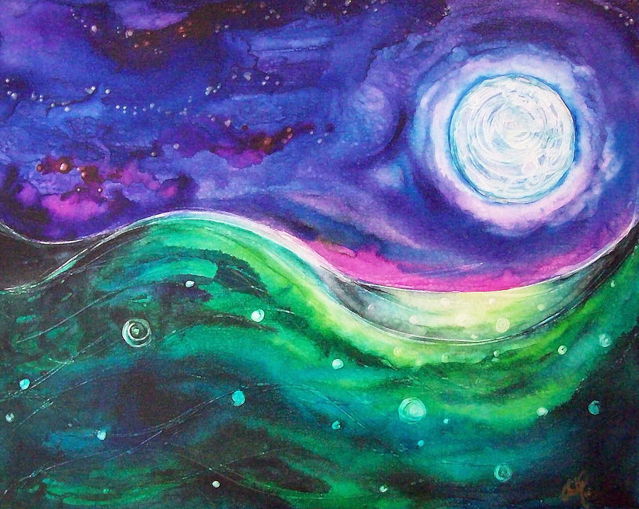 Moon Painting - Moonscape by Christy Freeman Stark