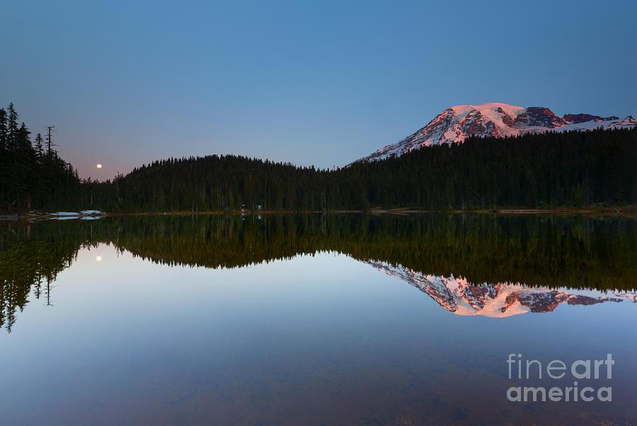 Dawn Photograph - Moonset Over Rainier by Mike  Dawson
