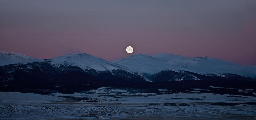 Moon Photograph - Moonset Over The Great Divide by Patrick Derickson