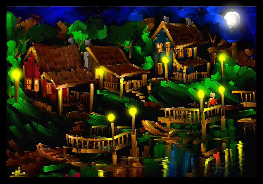 Moonshine Painting - Moonshine Lake - Scratch Art Series - # 26 by Steven Lebron Langston