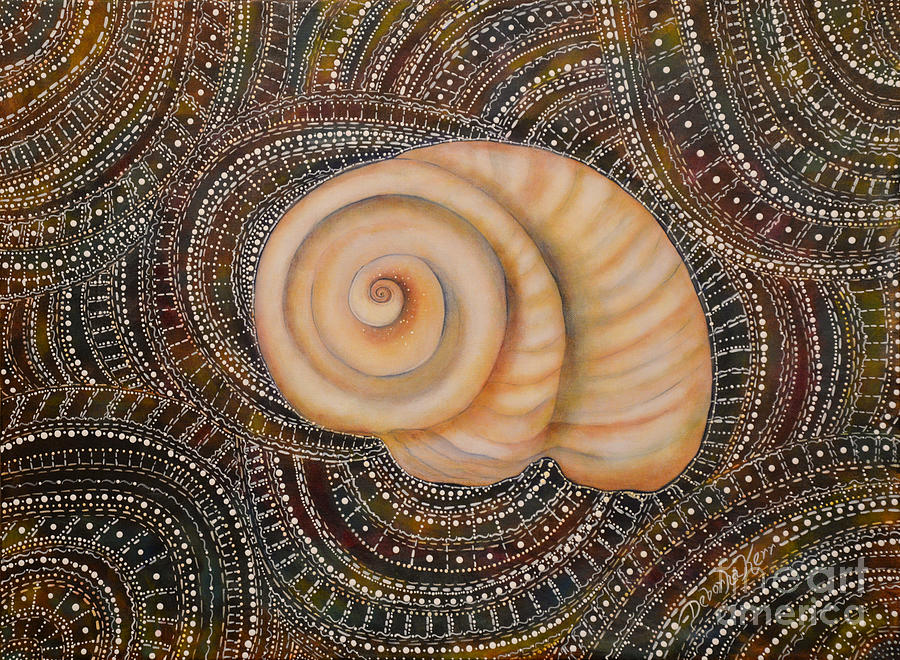 Moonsnail Mandala Painting by Deborha Kerr