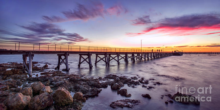 Landscape Photograph - Moonta Bay Jetty Sunset by Shannon Rogers