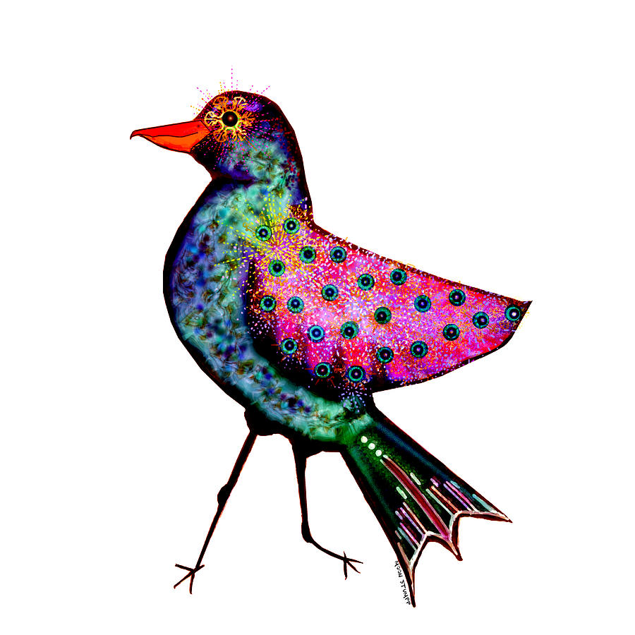 Bird Painting - Moonworld Series - Tweet Trot In Evening Wear by Moon Stumpp