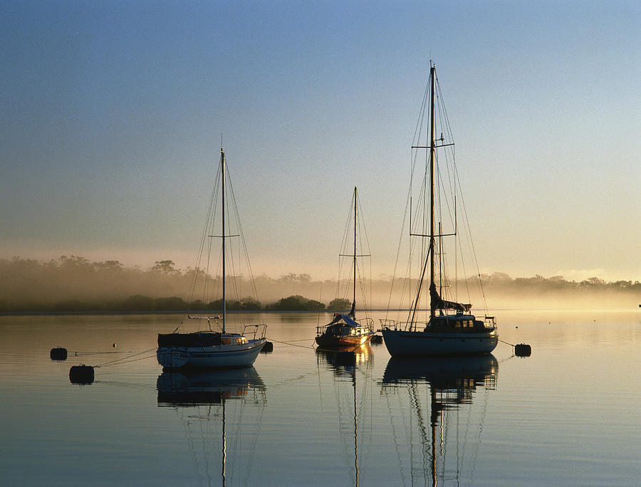 Moored Boats At Sunrise Photograph by Richard Ianson