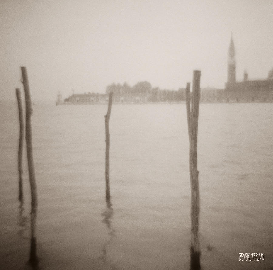 Sepia Photograph - Moorings In Foreground by Beverly Brown