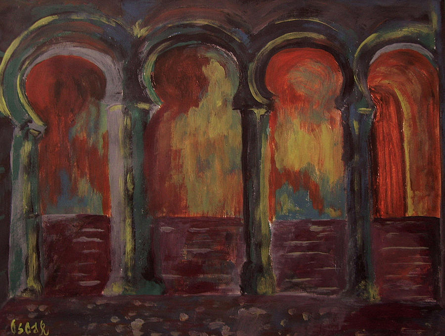 Cityscapes Painting - Moorish Arches II by Oscar Penalber